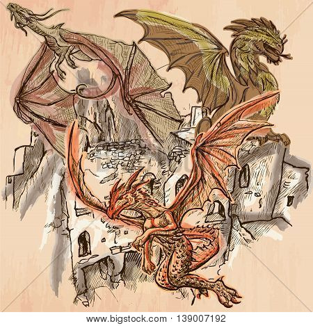 DRAGONS flying upon the old Castle Ruins. Freehand sketching line drawing. An hand drawn vector illustration. Colored background is isolated. Technique colored line art. Vector is easy editable.