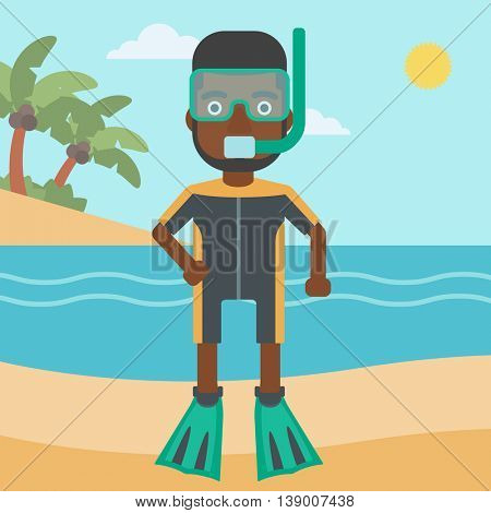 An african-american man in diving suit, flippers, mask and tube standing on the beach. Male scuba diver on the beach. Man enjoying snorkeling. Vector flat design illustration. Square layout.