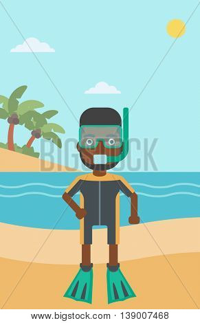 An african-american man in diving suit, flippers, mask and tube standing on the beach. Male scuba diver on the beach. Man enjoying snorkeling. Vector flat design illustration. Vertical layout.