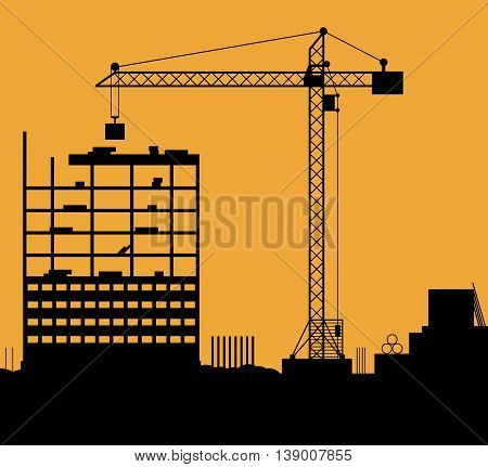 Construction site with buildings and cranes. skyscraper under construction. vector illustration on orange background