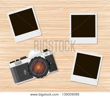Retro old camera and instant photo frames on wooden background. vecor illustration in flat style