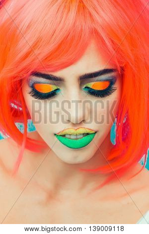 Pretty Girl With Orange Hair And Makeup