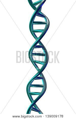 3D rendering of DNA helix isolated on white background.