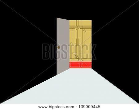 Open door with light. Light from the open door.