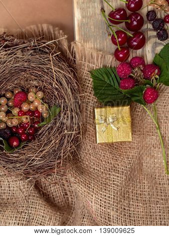 Fresh colourful berries currants strawberries raspberries in bird nest and on wooden board with golden gift box on burlap background