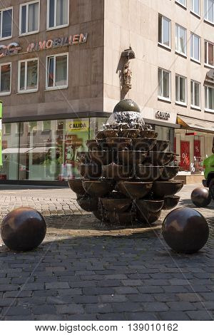 Nurnberg Bavaria / Germany - July 19th 2014: Nurnberg Fountain of round containers