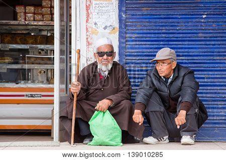 LEH INDIA - JUNE 21 2015 : Unidentified Indian muslim man in the market.