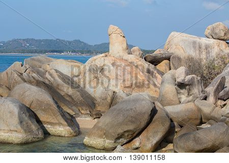 Hin Ta and Hin Yai Rocks grandmother and grandfather rock in Koh Samui Thailand