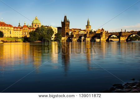 Charles Bridge is the oldest standing bridge across the Vltava River in Prague and the second oldest bridge in the Czech Republic.