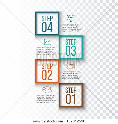 Abstract infographics number options template. Vector illustration. Can be used for workflow layout, diagram, business step options, banner, web design. Transparent background.