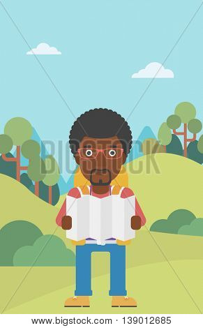 Traveler with backpack looking at map. An african-american man travelling in mountains. Traveler searching right direction on map. Vector flat design illustration. Vertical layout.