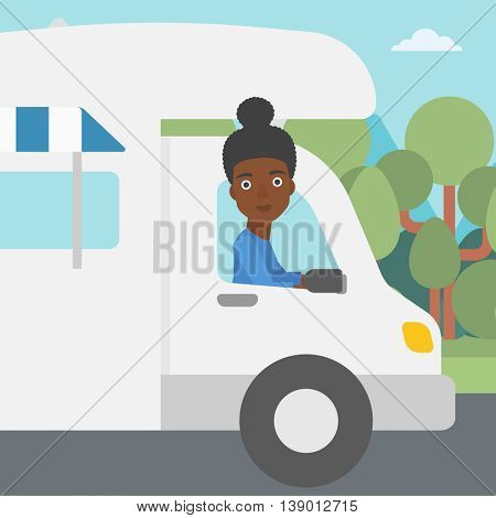 An african-american woman driving a motor home in the forest. Woman travelling by camper van. Vector flat design illustration. Square layout.