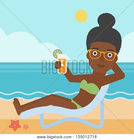 An african-american woman sitting in a chaise longue and holding a cocktail in hand on the background of sand beach with blue sea. Vector flat design illustration. Square layout.