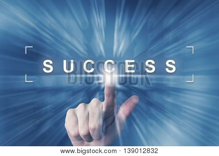 hand clicking on business success button with zoom effect background