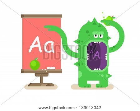 Cartoon monster teaches alphabet. School education, letter a, pupil and lesson, flat vector illustration