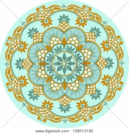 Drawing of a floral mandala in turquoise, blue and light brown colors on a white background