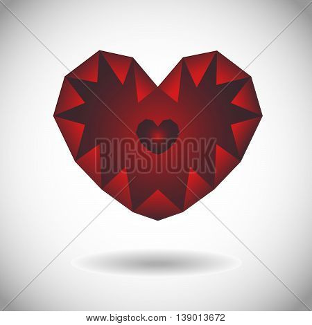 Red heart with element low poly for St. Valentine's Day