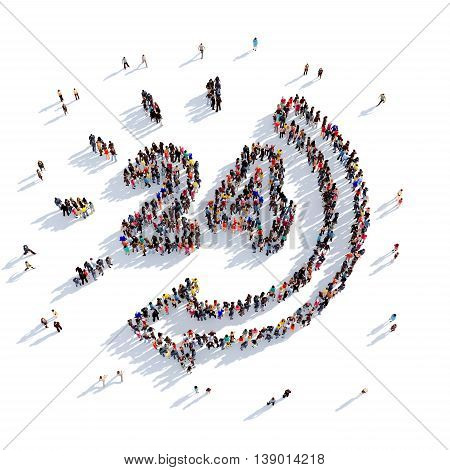 Large and creative group of people gathered together in the shape of clock, consultation. 3D illustration, isolated against a white background. 3D-rendering.