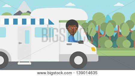 An african-american man driving a motor home in the forest. Man travelling by camper van. Vector flat design illustration. Horizontal layout.