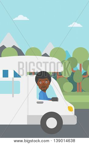 An african-american man driving a motor home in the forest. Man travelling by camper van. Vector flat design illustration. Vertical layout.