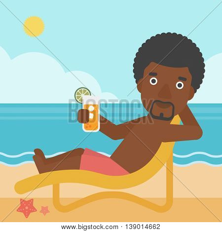 An african-american man sitting in chaise longue and holding a cocktail in hand on the background of sand beach with blue sea. Vector flat design illustration. Square layout.