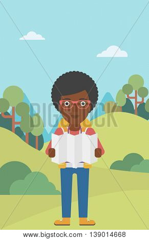 Traveler with backpack looking at map. An african-american woman travelling in mountains. Traveler searching right direction on map. Vector flat design illustration. Vertical layout.