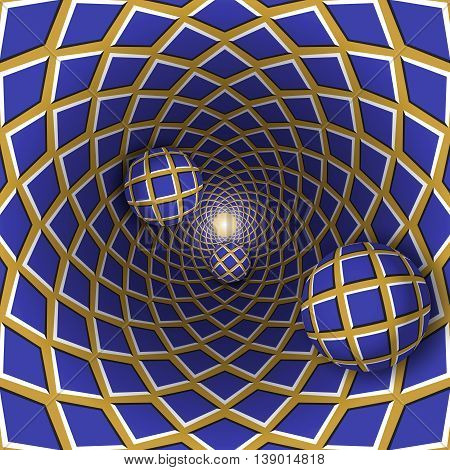 Visual illusion illustration. Three checkered balls are moving on checkered blue golden hole. Abstract phantasy in a surreal style.