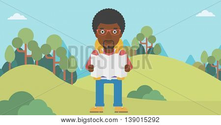 Traveler with backpack looking at map. An african-american man travelling in mountains. Traveler searching right direction on map. Vector flat design illustration. Horizontal layout.