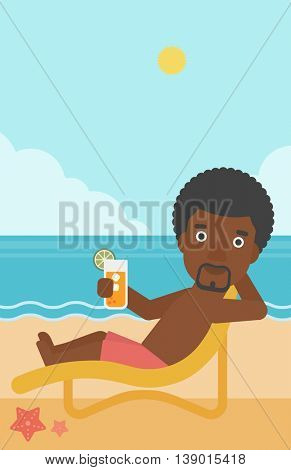 An african-american man sitting in chaise longue and holding a cocktail in hand on the background of sand beach with blue sea. Vector flat design illustration. Vertical layout.