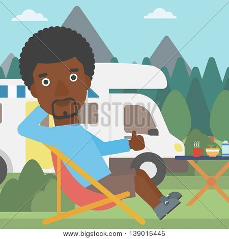 An african-american man sitting in a folding chair and giving thumb up on the background of camper van. Man enjoying vacation in camper van. Vector flat design illustration. Square layout.