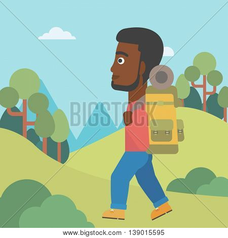 An african-american man hiking in mountains. Traveler with backpack mountaineering. Hiking man with backpack walking outdoor. Vector flat design illustration. Square layout.