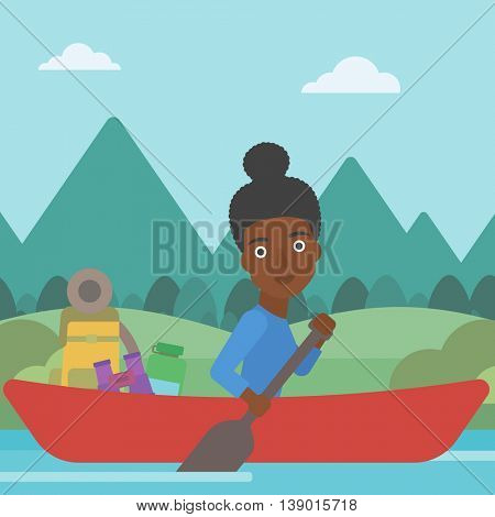 An african-american woman riding in a kayak on the river with a skull in hands and some tourist equipment behind her. Woman traveling by kayak. Vector flat design illustration. Square layout.