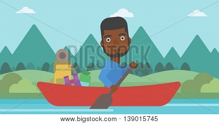 An african-american man riding in a kayak on the river with a skull in hands and some tourist equipment behind him. Man traveling by kayak. Vector flat design illustration. Horizontal layout.