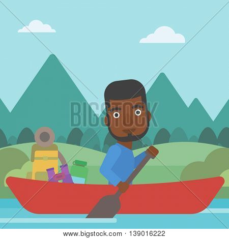 An african-american man riding in a kayak on the river with a skull in hands and some tourist equipment behind him. Man traveling by kayak. Vector flat design illustration. Square layout.