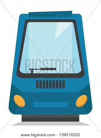 Front or rear view of modern high speed train vector flat design illustration isolated on white background.