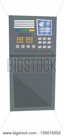 Industrial control panel vector flat design illustration isolated on white background.