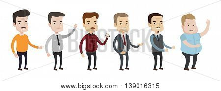 Set of illustrations of middle aged man giving thumbs up, showing peace sign, waving hand, using smartphone, pointing the forefinger. Vector illustration isolated on white background.