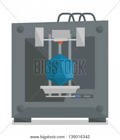 Tree D printer making a diamond vector flat design illustration isolated on white background.