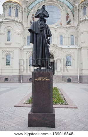 Kronstadt. A monument to the admiral Fyodor Ushakov before St. Nicholas Naval Cathedral.