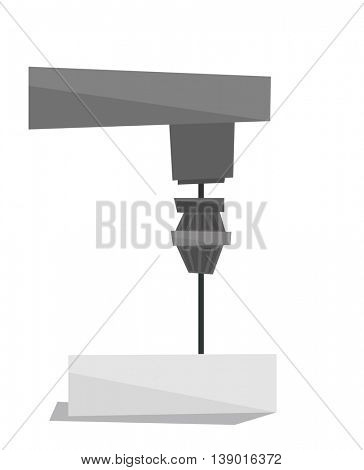 Industrial milling tool vector flat design illustration isolated on white background.