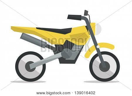 Side view of classic retro motorcycle vector flat design illustration isolated on white background.