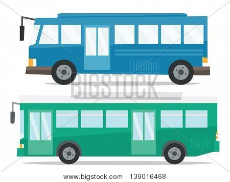 Side view of two city buses vector flat design illustration isolated on white background.
