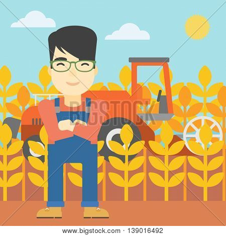 An asian farmer standing on the background of combine harvesting wheat. Young farmer working on a wheat field. Vector flat design illustration. Square layout.
