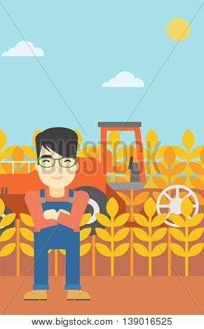 An asian farmer standing on the background of combine harvesting wheat. Young farmer working on a wheat field. Vector flat design illustration. Vertical layout.