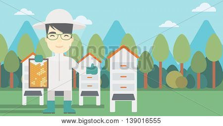 An asian farmer wearing protective suit. Bee-keeper holding a framework in hand and showing thumb up on the background of apiary. Vector flat design illustration. Horizontal layout.