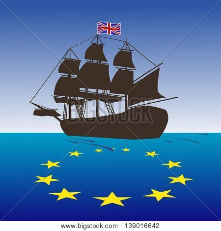 Brexit concept illustration. Vector UK ship leaving EU. United Kingdom leave EU