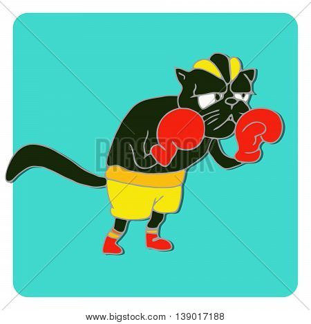 Cats athlete in sports wear. Boxer black cat in red boxing gloves. Funny animal sport sticker. Cartoon style. Vector illustration
