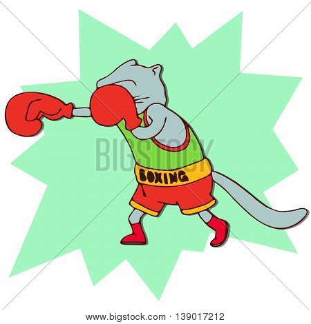 Cats athlete in sports wear. Boxer cat in red boxing gloves. Funny animal sport sticker. Cartoon style. Vector illustration