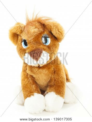 Baby lion soft toy isolated over white background