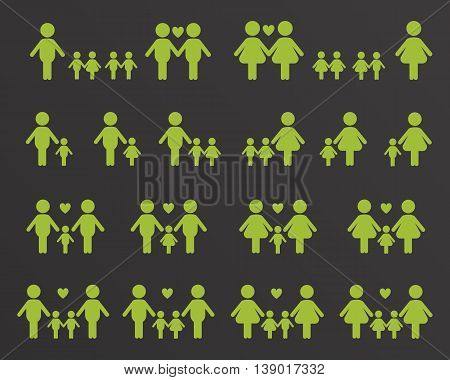 Gay and lesbian family vector icons white on black background
